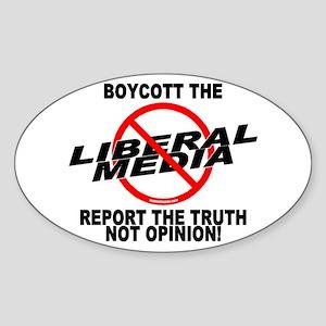 Boycott The Liberal Media Oval Sticker