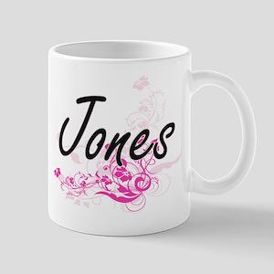 Jones surname artistic design with Flowers Mugs
