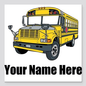 "School Bus Square Car Magnet 3"" x 3"""