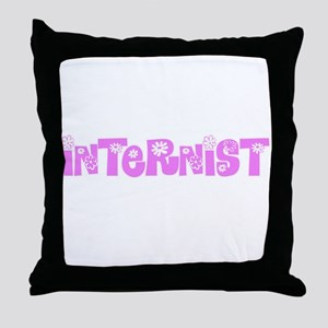 Internist Pink Flower Design Throw Pillow