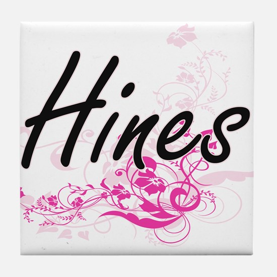 Hines surname artistic design with Fl Tile Coaster