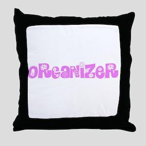 Organizer Pink Flower Design Throw Pillow
