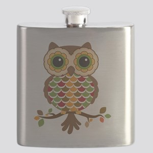 Owl with fall colors Flask