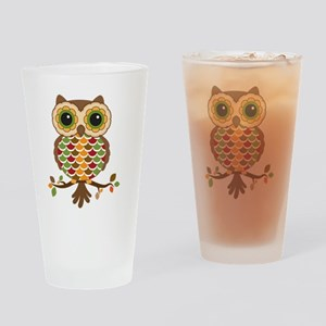 Owl with fall colors Drinking Glass