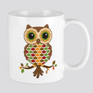 Owl with fall colors Mugs
