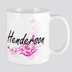Henderson surname artistic design with Flower Mugs