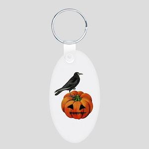 vintage halloween crow pump Aluminum Oval Keychain