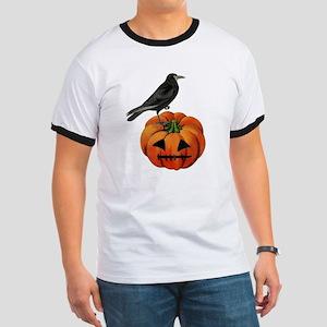 vintage halloween crow pumpkin Ringer T