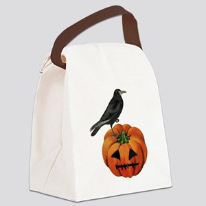 vintage halloween crow pumpkin Canvas Lunch Bag