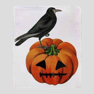 vintage halloween crow pumpkin Throw Blanket