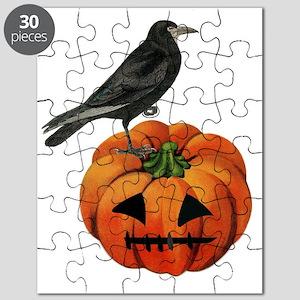 vintage halloween crow pumpkin Puzzle