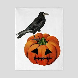 vintage halloween crow pumpkin Twin Duvet