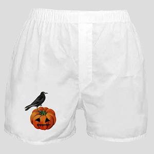 vintage halloween crow pumpkin Boxer Shorts