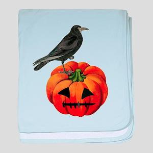 vintage halloween crow pumpkin baby blanket