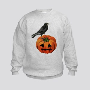 vintage halloween crow pumpkin Kids Sweatshirt