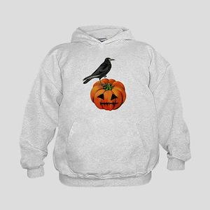 vintage halloween crow pumpkin Kids Hoodie