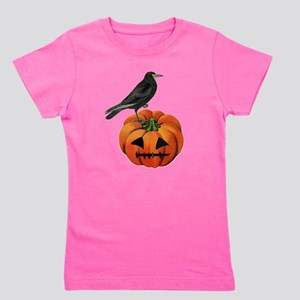 vintage halloween crow pumpkin Girl's Tee