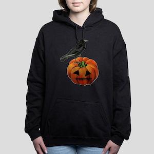 vintage halloween crow p Women's Hooded Sweatshirt