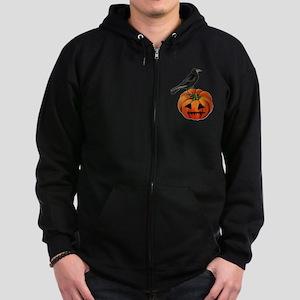 vintage halloween crow pumpkin Zip Hoodie (dark)