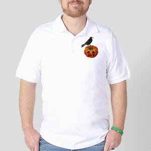 vintage halloween crow pumpkin Golf Shirt