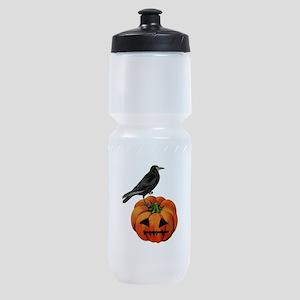 vintage halloween crow pumpkin Sports Bottle