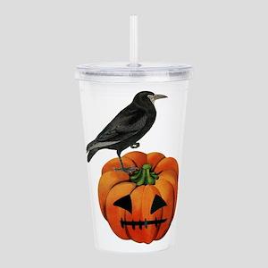 vintage halloween crow Acrylic Double-wall Tumbler