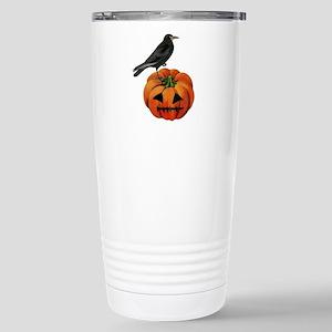 vintage halloween crow Stainless Steel Travel Mug