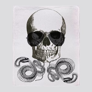 grunge steampunk skeleton skull Throw Blanket