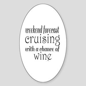 Cruising and Wine Sticker (Oval)