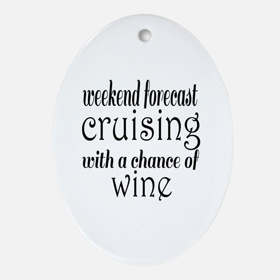 Cruising and Wine Oval Ornament