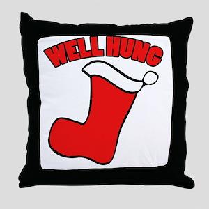 Well hung christmas Throw Pillow