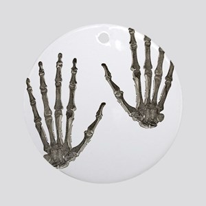 rock n roll skeleton hands Round Ornament