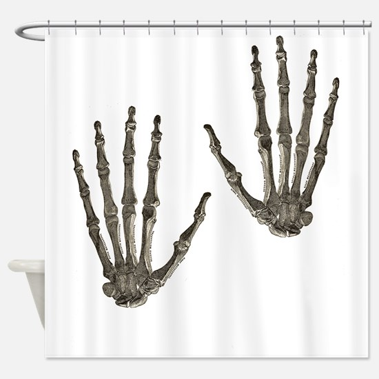 rock n roll skeleton hands Shower Curtain