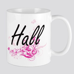 Hall surname artistic design with Flowers Mugs