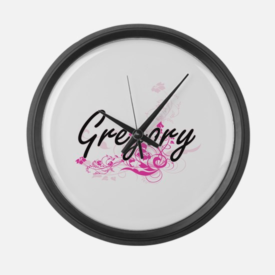 Gregory surname artistic design w Large Wall Clock