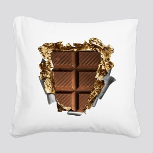 Chocolate Bar Sixpack Square Canvas Pillow