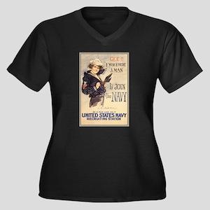 WWI US Navy Women's Plus Size V-Neck Dark T-Shirt