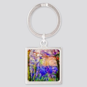Nature In Stained Glass Square Keychain
