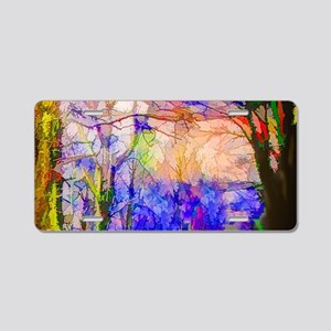 Nature In Stained Glass Aluminum License Plate