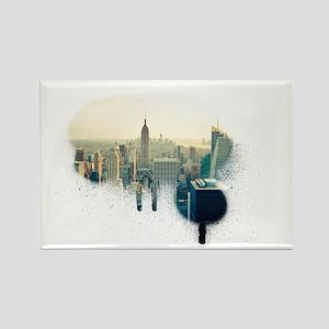 New York at Sunset - Graffiti sty Rectangle Magnet