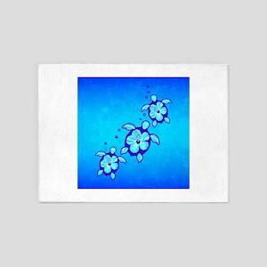 3 Blue Honu Turtles 5'x7'Area Rug