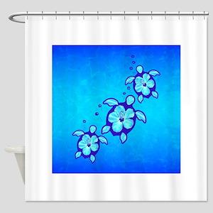 3 Blue Honu Turtles Shower Curtain