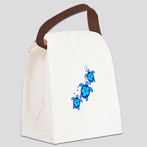 3 Blue Honu Turtles Canvas Lunch Bag