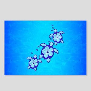 3 Blue Honu Turtles Postcards (Package of 8)