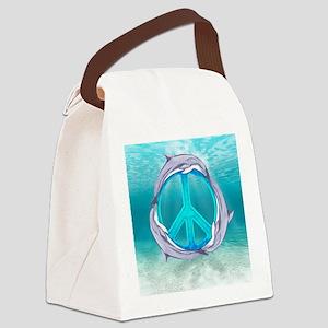 Dolphin Peace Canvas Lunch Bag