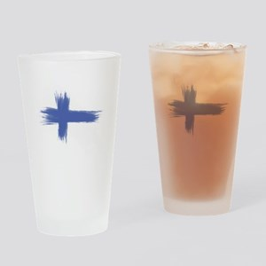 Finland Flag brush style Drinking Glass