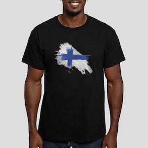 Finland Flag brush sty Men's Fitted T-Shirt (dark)