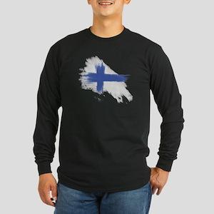 Finland Flag brush style Long Sleeve Dark T-Shirt
