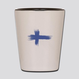 Finland Flag brush style Shot Glass