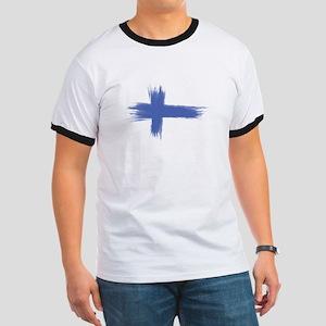 Finland Flag brush style Ringer T